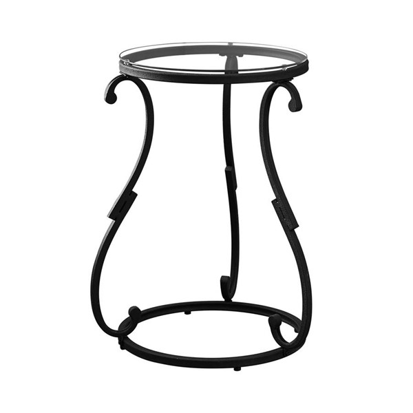 Monarch Specialties Black Clear Round Accent End Table MNC-I-3330
