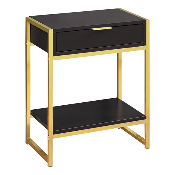 Monarch Specialties Cappuccino Gold Metal Drawer Accent Table MNC-I-3486