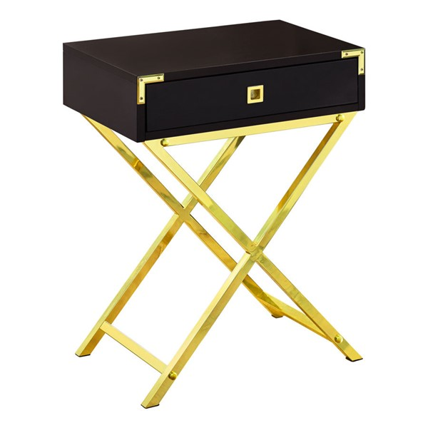 Monarch Specialties Cappuccino Gold Metal Storage Accent Table MNC-I-3556