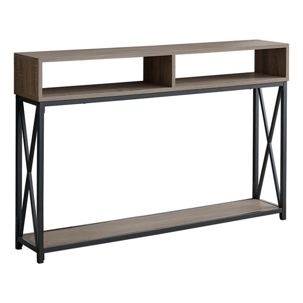 Monarch Specialties Dark Taupe Black 48 Inch Hall Console Accent Table MNC-I-3573