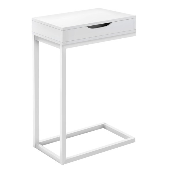 Monarch Specialties White Metal Drawer Accent Table MNC-I-3601