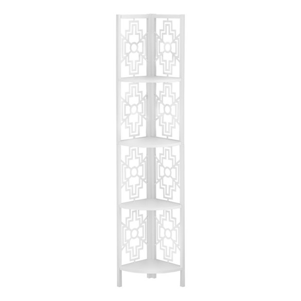 Monarch Specialties White Metal 62 Inch Corner Etagere Bookcase MNC-I-3623
