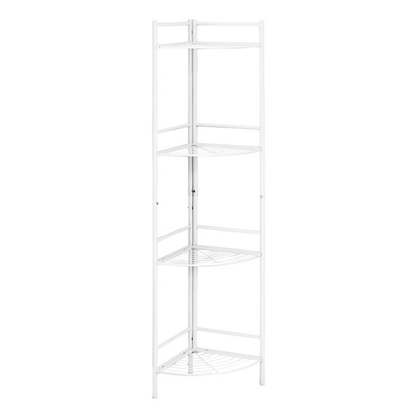 Monarch Specialties White Metal 58 Inch Corner Etagere Bookcase MNC-I-3626