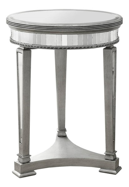 Monarch Specialties Silver MDF Glass Accent End Table MNC-I-3705