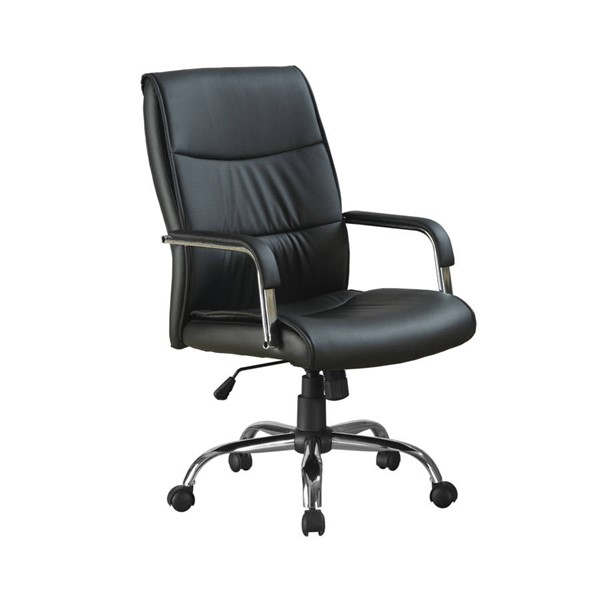 Monarch Specialties Black Leather Office Chair with Arm MNC-I-4290