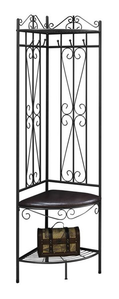 Monarch Specialties Brown Leather Hall Entry Bench MNC-I-4548