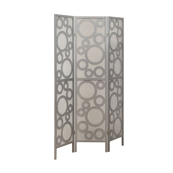 Monarch Specialties Silver Solid Wood 3 Panel Folding Screen MNC-I-4636