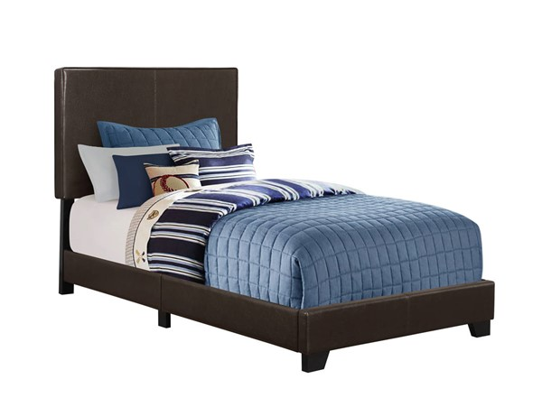 Monarch Specialties Brown Leather Black Twin Bed MNC-I-5910T