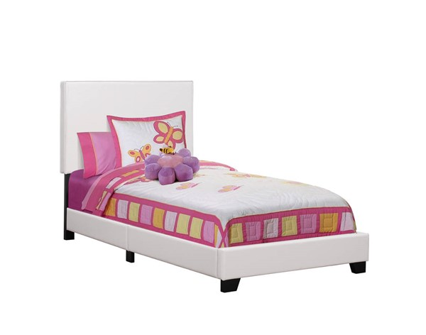 Monarch Specialties White Leather Black Twin Bed MNC-I-5911T