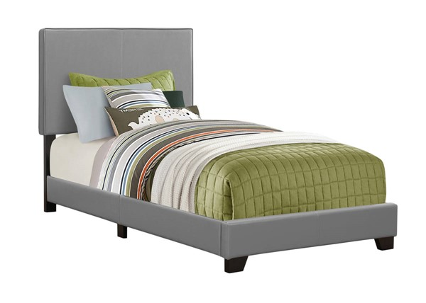 Monarch Specialties Grey Leather Black Twin Bed MNC-I-5912T