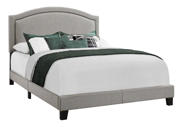 Monarch Specialties Grey Linen Black MDF Queen Bed MNC-I-5936Q
