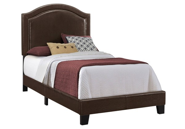 Monarch Specialties Brown Leather Black MDF Twin Bed MNC-I-5938T
