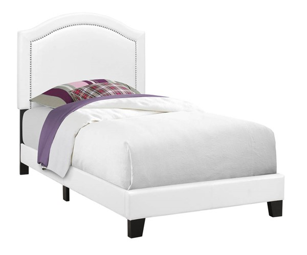 Monarch Specialties White Leather Black MDF Twin Bed MNC-I-5939T