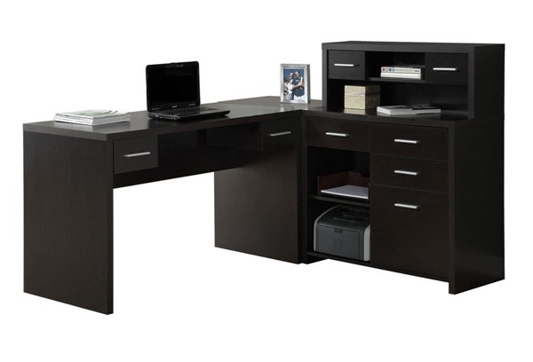 Monarch Specialties Cappuccino MDF Storage Computer L Desk MNC-I-7018
