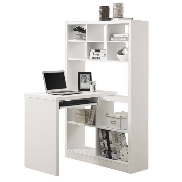 Monarch Specialties White MDF Left or Right Facing Corner Computer Desk MNC-I-7022