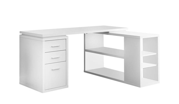 Monarch Specialties White Left or Right Facing Corner Computer Desk MNC-I-7023