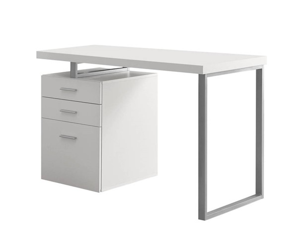 Monarch Specialties White Silver Left or Right Facing Computer Desk MNC-I-7027