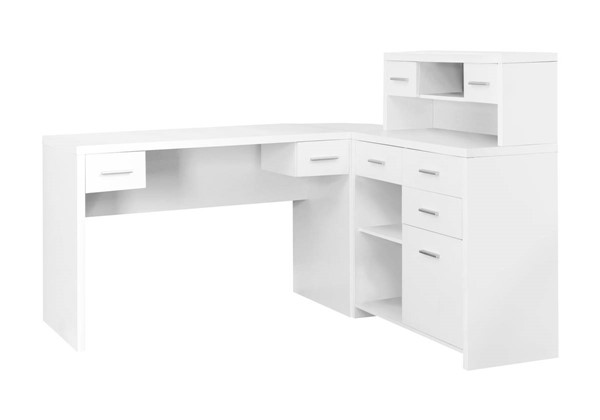 Monarch Specialties White MDF Storage Computer L Desk MNC-I-7028