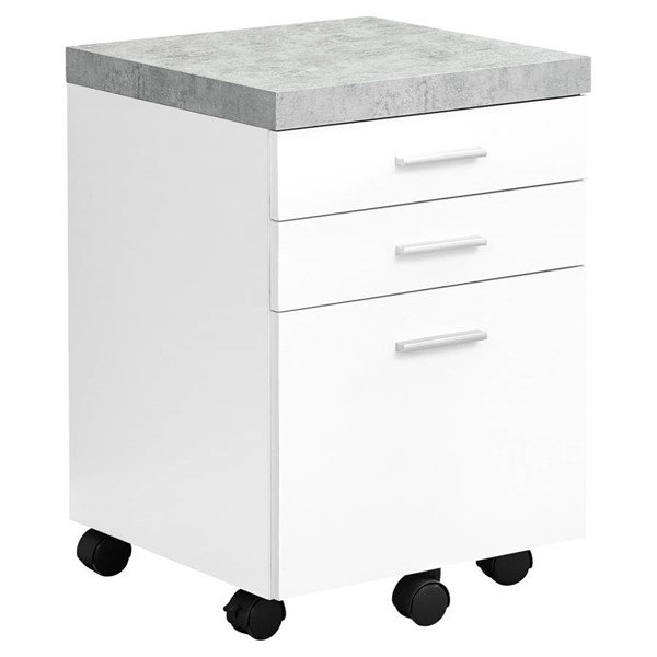 Monarch Specialties White Grey MDF Filing Cabinet MNC-I-7051