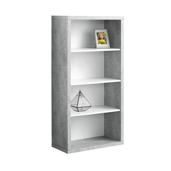 Monarch Specialties Grey White MDF Adjustable Shelves Bookcase MNC-I-7062