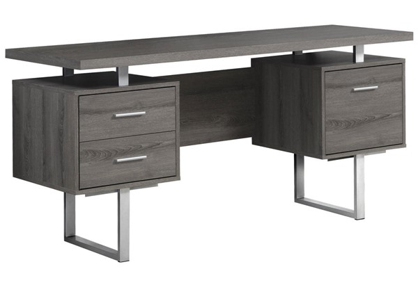 Monarch Specialties Taupe MDF Silver Metal Computer Desk MNC-I-7082