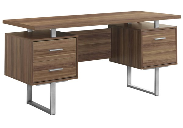 Monarch Specialties Walnut MDF Silver Metal Computer Desk MNC-I-7083