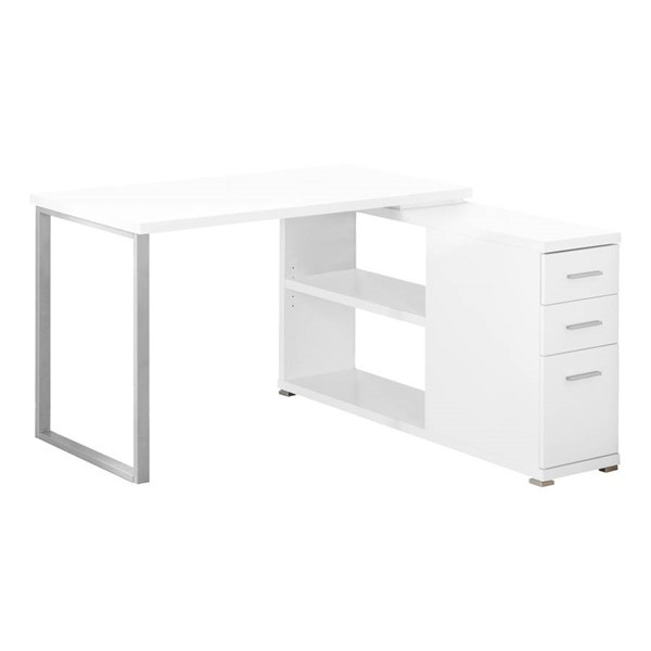 Monarch Specialties White Silver Left or Right Facing Corner Computer Desks MNC-I-7133-OD-VAR