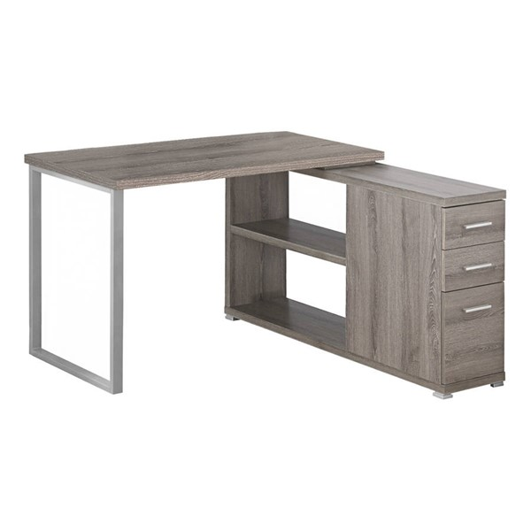 Monarch Specialties Taupe Silver Left or Right Facing Corner Computer Desk MNC-I-7134
