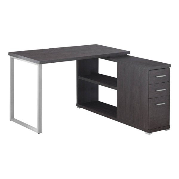 Monarch Specialties Grey Silver Left or Right Facing Corner Computer Desk MNC-I-7135