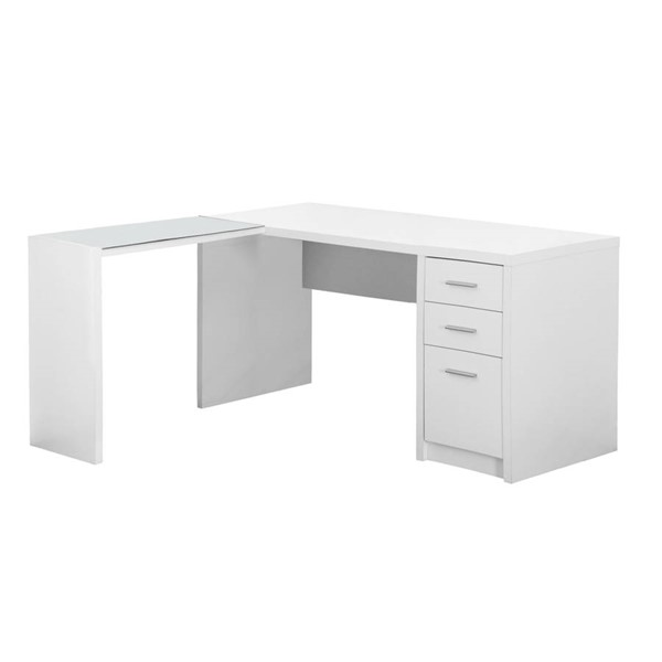 Monarch Specialties White Clear Computer L Desk MNC-I-7136