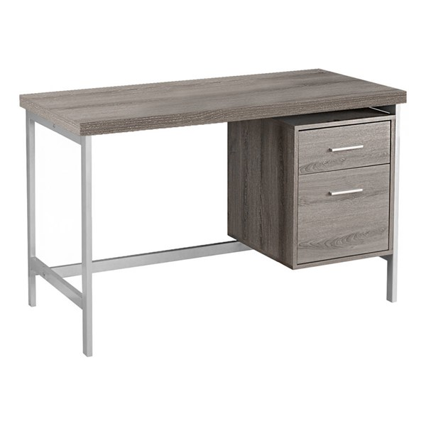 Monarch Specialties Taupe Silver Storage Computer Desk MNC-I-7150