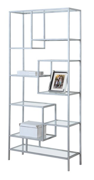 Monarch Specialties Silver Metal Clear Glass Bookcase MNC-I-7158