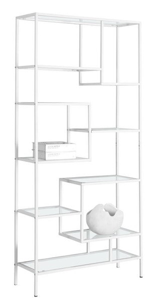 Monarch Specialties White Metal Clear Glass Bookcase MNC-I-7159