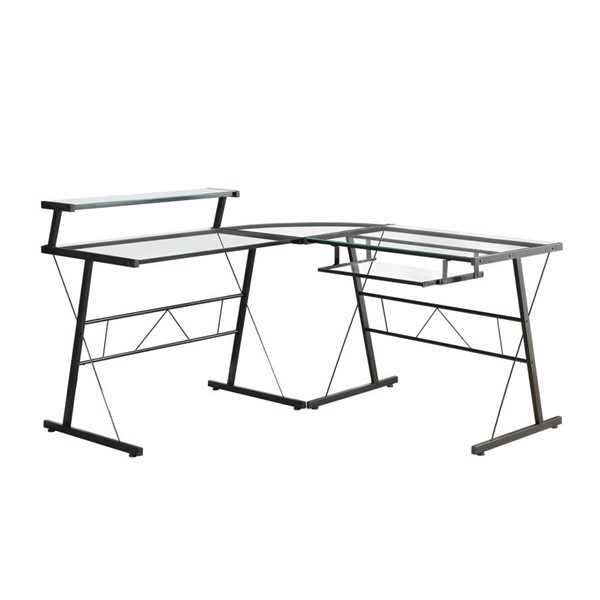 Monarch Specialties Clear Black Computer L Desk MNC-I-7172