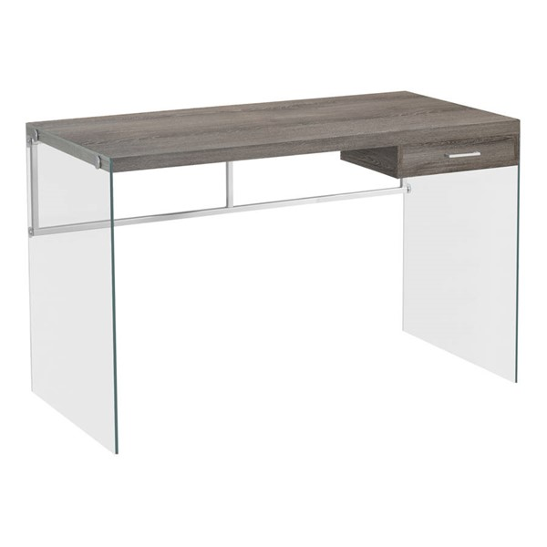 Monarch Specialties Taupe Clear Glass Computer Desks MNC-I-7207-OD-VAR