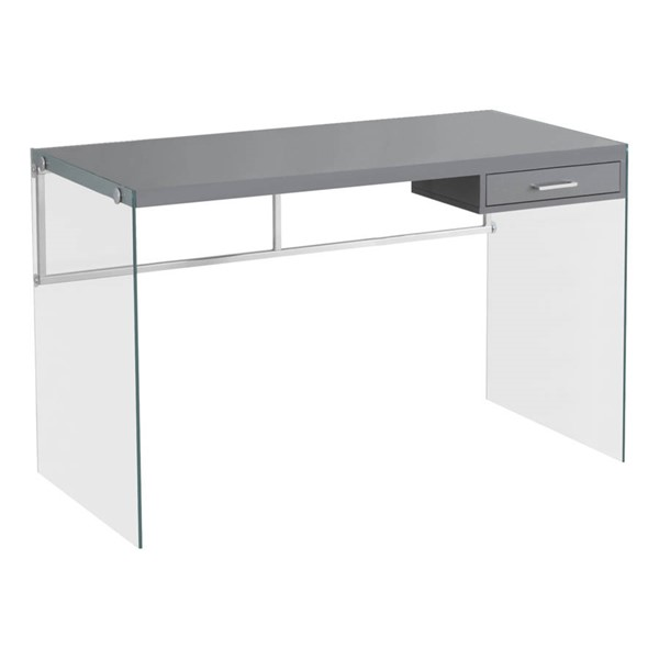 Monarch Specialties Grey Clear Glass Computer Desk MNC-I-7208