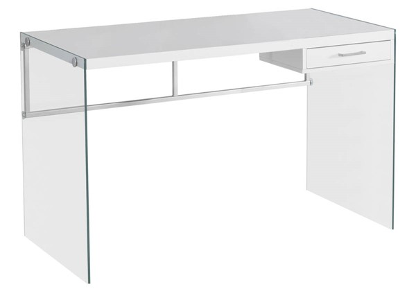 Monarch Specialties White Clear Glass Computer Desk MNC-I-7209