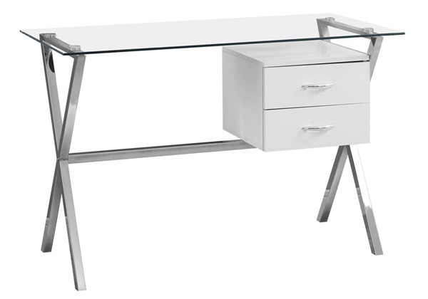Monarch Specialties White Wood Glass Metal Computer Desk MNC-I-7215