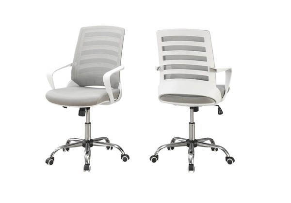 Monarch Specialties White Grey Polyester Office Chair MNC-I-7225