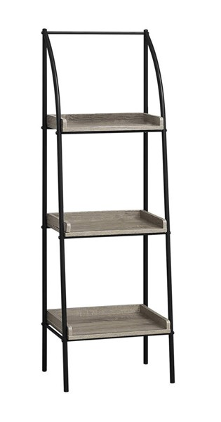 Monarch Specialties Taupe MDF Black Metal Tall Bookcase MNC-I-7228