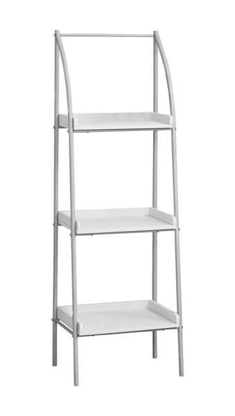 Monarch Specialties White MDF Silver Metal Tall Bookcases MNC-I-7229-BC-VAR