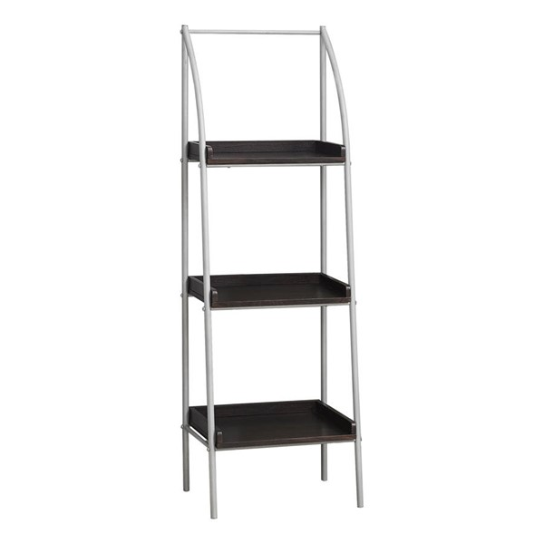 Monarch Specialties Cappuccino MDF Silver Metal Tall Bookcase MNC-I-7230