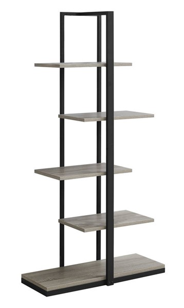 Monarch Specialties Taupe MDF Black Tall Bookcase MNC-I-7232