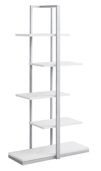 Monarch Specialties White MDF Silver Tall Bookcases MNC-I-7233-BC-VAR
