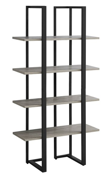 Monarch Specialties Taupe MDF Black Metal Bookcase MNC-I-7237