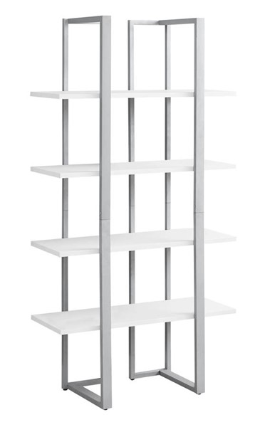 Monarch Specialties White MDF Silver Metal Bookcase MNC-I-7238
