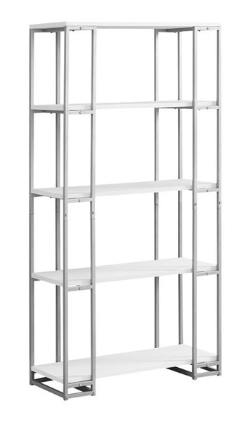 Monarch Specialties White Silver Tall Bookcases MNC-I-7242-BC-VAR