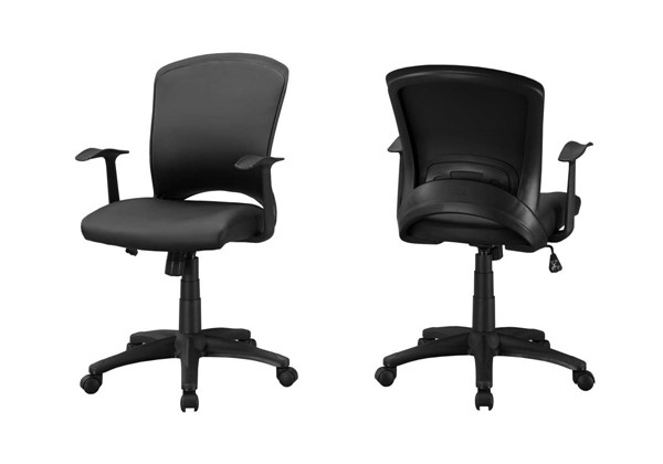 Monarch Specialties Black Leather Adjustable Height Office Chair MNC-I-7244