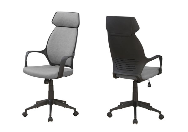 Monarch Specialties Grey Black Microfiber Office Chair MNC-I-7250