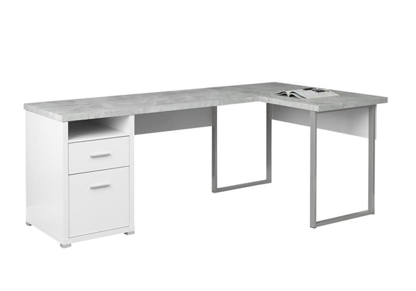 Monarch Specialties White Grey Computer L Desk MNC-I-7258